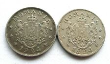 More details for romania 1 leu 1924-b brussels & 1924-p poissy mint, both aef, some toning. km#46