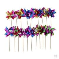 100x Foil Windmill Fruit Sticks Sandwich Picks Party Table Decoration