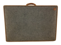 "Hartmann Grey Tweed Travel 24"" Suitcase Belting Vintage Leather Accents"