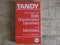 TANDY DIODE CHARACTERISTICS EQUIVALENTS & SUBSTITUTES B.B. BABANI RARE BOOK