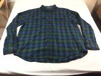 Woolrich Flannel Mens 2XL Long Sleeve Button Down Shirt Blue And Green Plaid
