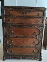 "Rare Antique Dresser with 5 Drawers, 48"" H x 36"" W x 19"" D, Early 1900's"