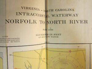 US Coast & Geodetic Survey Chart Intracoastal Waterway Virginia N. Carolina 1954