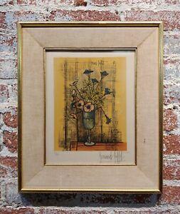 Bernard Buffet -Still Life Flowers in Glass -original Lithograph- Pencil signed