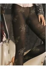 TRASPARENZE Screenplay Flowers Print Black Pantyhose Size S Hosiery Tights