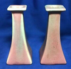 Muncie Art Pottery Tall Candlestick Pair