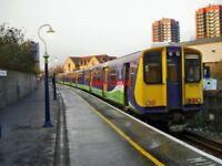 PHOTO  CLASS 313 UNIT NO 313113 AT NORTH WOOLWICH  RAILWAY STATION. 313113 ON RI
