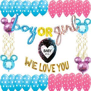 Gender reveal decoration Boy or Girl foil Balloons  pink and blue decoration