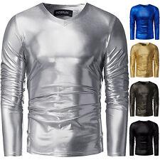 INCERUN Herren Langarm Shirt PU Wetlook Lack Leder Muskelshirt Glänzend Clubwear