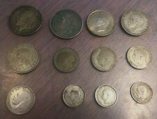 Lot of 12 Great Britain 50% Silver Coins, '21-'44, Half Crown-Shillings-Sixpence