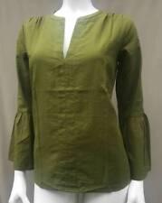 Ann Taylor Loft Woman Shirt Blouse Tunic Size Large Green Cotton