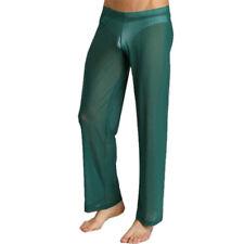 Men Lingerie Sheer Mesh Long Pants See Through Home Wear Gauze Underwear Trouser