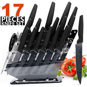 17Pcs Kitchen Knives Set Stainless Steel Chef Knife With Block Non-Slip Handle