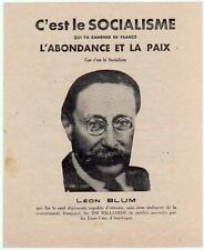 Tract C'EST LE SOCIALISME QUI VA RAMENER L'ABONDANCE ET LA PAIX 1946 AISNE Blum