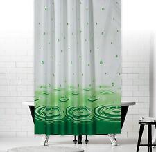 Cortina de ducha tejido blanco verde gotas 240x200 + ANILLO lavado y Planchar