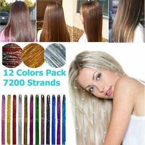 Glitter Sparkle Fairy Hair Tinsel Kit 7500 Strands 12 colors Shiny Hair Streak