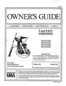 Duerr Chipper-Shredder Owner's Guide/ Manual for 5 & 8 HP Models