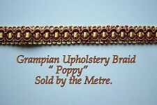 "Red & Old Gold colour Upholstery Braid ""Grampian Poppy"" 18mm (sold by the Metre)"