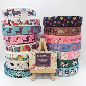 Per Metre KIDS ANIMAL Printed Grosgrain ribbon 22/25mm Party Cake/ Hairbows Cake