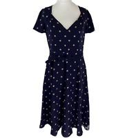 L K Bennett Navy Blue Silk Spotted/Polka Dot Tea Dress. UK Size 14. EXC CON.