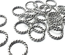 25 x 15mm Silver Plated Twisted Round Closed Jump Ring Connector Links, Craft