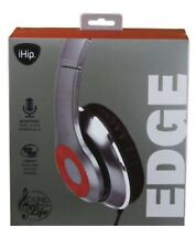 iHip Edge Headphones Silver & Red w/ Built In Mic Foldable Noise Isolating A055