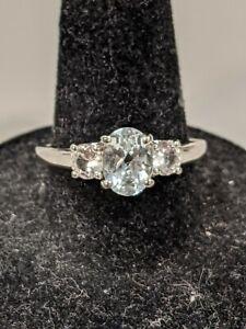 Sterling Silver Aquamarine & L-C White Sapphire 3-Stone Ring, Size 9 - $250