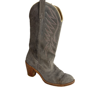 Dingo Cowboy Boots Size 7 M Suede Gray Leather Block Heel Red Stitching