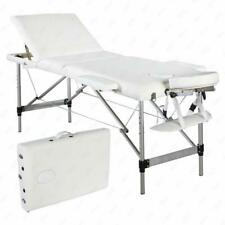 Portable Aluminum 3 Fold Massage Table Facial Spa Bed Tattoo White w/Carry Case