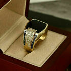 Fashion 925 Silver Party Jewelry Men Black Sapphire Wedding Gift Rings Size 6-13