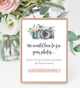 Personalised A4 Wedding Sign Floral Hashtag Instagram Facebook - Blush - Digital