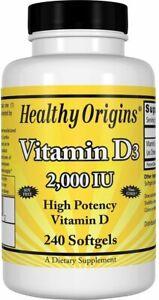 Vitamin D3 by Healthy Origins, 240 softgels 2000 IU