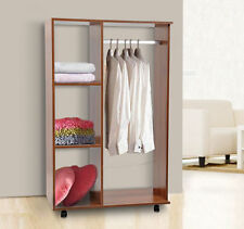 Single Mobile Open Wardrobe Storage Shelves Organizer With Clothes Hanging Rail