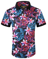 MENS PREMIERE Casual SHORT SLEEVE POLO Golf SHIRT COLORFUL FLORAL Silky 207 NEW
