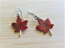 Canada Day 150 Maple Leaf Charm Earrings Hand Painted
