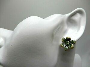 1928 Jewelry Co Blue Enamel Flower Green Rhinestone Center Stud Earrings 3/4 In