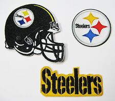 1 LOT OF (3) NFL STEELERS EMBROIDERED PATCHES NAME LOGO & HELMET ITEM TYPE A #12