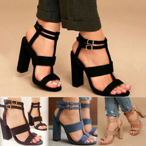 Womens Summer High Block Heel Open Toe Sandals T-Strap Ankle Strap Shoes Size