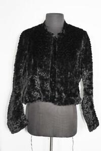 EXCEPTIONALLY RARE FRENCH VICTORIAN BLACK SILK FAUX CURLY LAMB JACKET SIZE MED