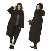 Womens Hooded Long Winter Coat Loose Warm Outwear Casual Over Knee Length Jacket