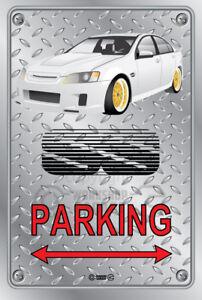 Parking Sign - Metal - BROCK HDT VK RETRO SS VE WHITE - GOLD RIMS - CHECKER LOOK