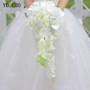 Wedding Bridal Bouquet Pearls Waterfall Style Bride Flower Gorgeous Calla Lily