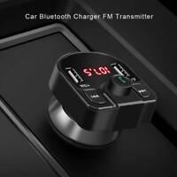 Émetteur voiture USB FM mains libres Bluetooth LCD sans fil Chargeur lecteur DE