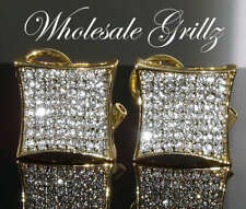 NEW$150 Mens XXL SIMULATE DIAMOND HipHop ice 14K Gold GP Earrings iced bling out
