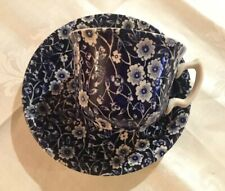 """Lovely Burleigh """"Calico"""" Cup & Saucer.Blue & White Floral Chintz.Made In England"""