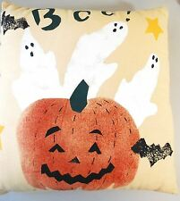 BOO! HALLOWEEN THROW PILLOW - Ghosts Bats Jack O'Lantern Pumpkin - Painted Stamp