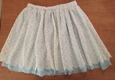 New Jellacouture Junior's Woman's Medium Blue White Lace Lined Skirt