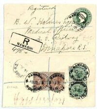 INDIA Nawadih Monghyr REGISTERED STATIONERY Railway {samwells-covers} 1901 CW79