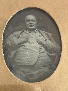 Victorian Ambrotype Photo Large Fat Man In Double-Breasted Waistcoat - In Frame