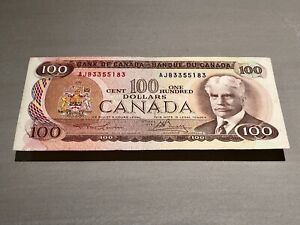 1975 Canadian 100 Dollar Bill - Serial Number: AJB3355183 - Lawson-Bouey